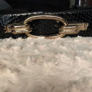 Black faux snakeskin belt by Banana Republic